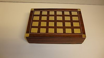 Vintage Wooden Brass Inlay Box Keepsake- Trinket - Tarot Cards -With Cards