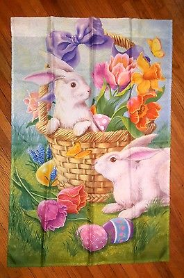 BUNNY IN A BASKET EASTER SPRING LARGE HOUSE FLAG 25'X38