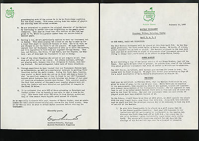 Orig. MASTERS GOLF TOURNAMENT PRESS RELEASE, Feb. 11, 1958 - ARNOLD PALMER Year