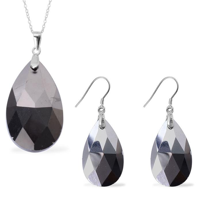 Sterling Silver Pendant Earring Chain Woman Jewelry Set Gift Platinum Stone