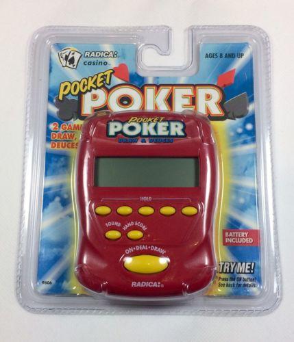 New Radica Pocket Poker Draw & Deuces Vintage Electronic Handheld Game Red 9806