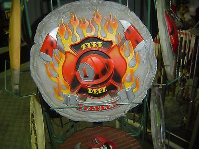 Fire Fighting Stepping Stone or Wall Hanging With Crossed Axes and Flames