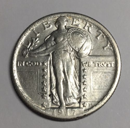 1917 25C Type 2 Standing Liberty Quarter XF Details