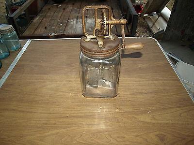 Antique Heavy Duty Butter Churn with 4QT Glass Jar, 1920's era
