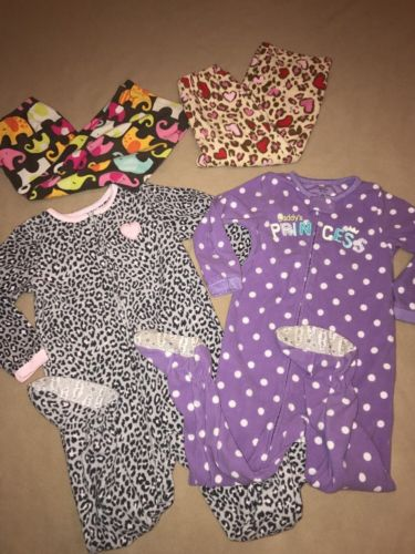 EUC lot of (4) Carter's Girl's footed pajamas pj's, fleece pants 4T princess