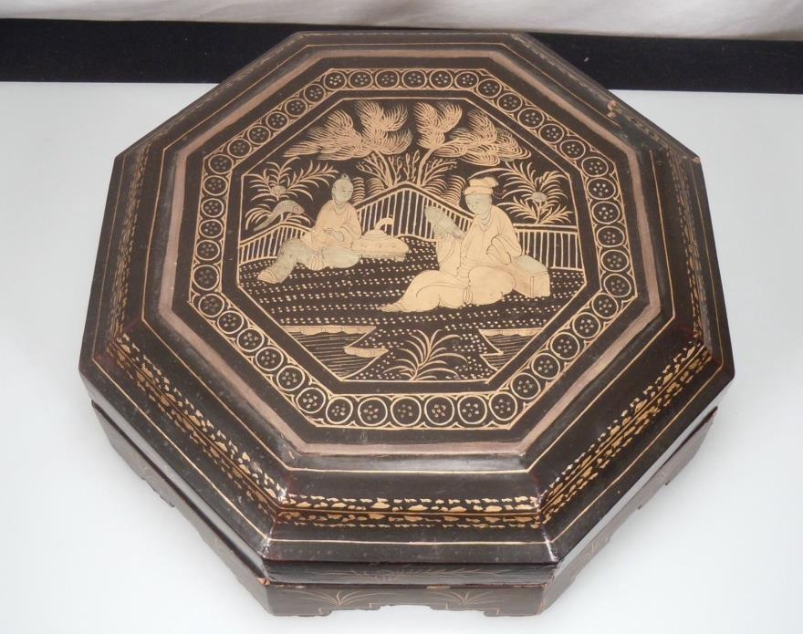 Chinese Wood Lacquered Sweetmeats Box