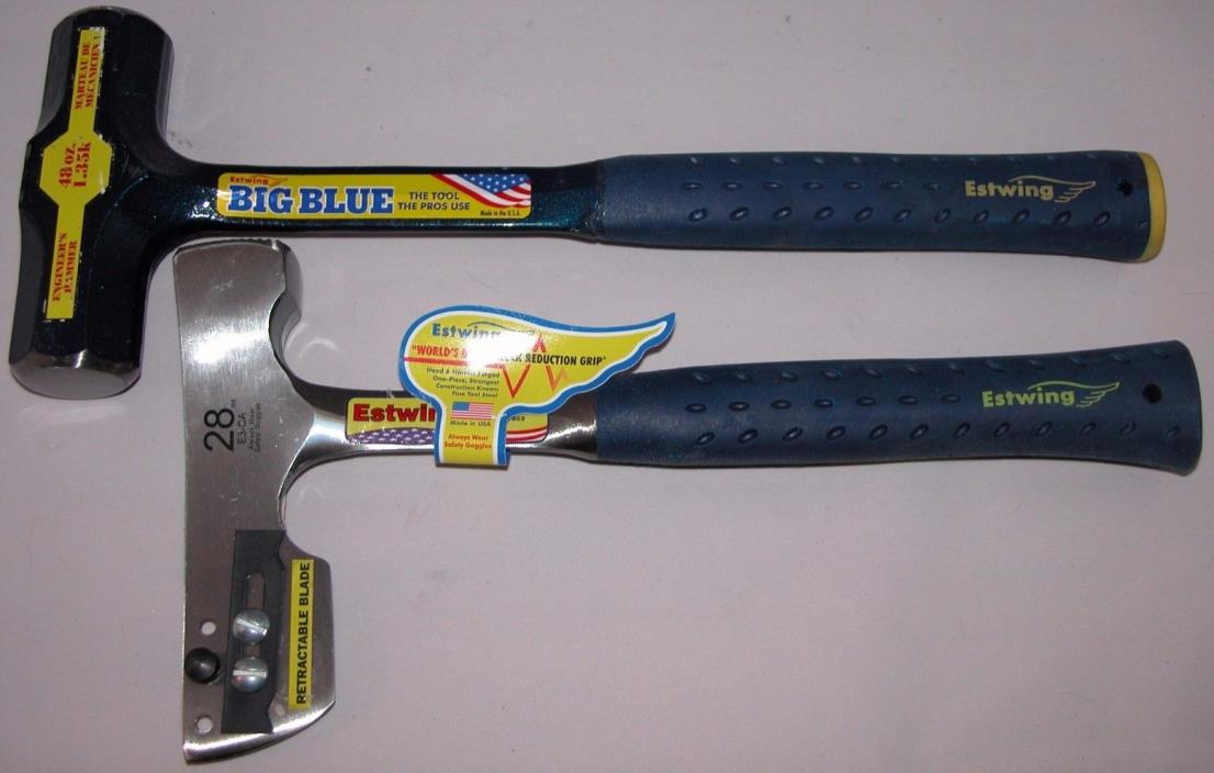 Estwing 48 oz Big Blue Engineer hammer & Estwing Shingle Hammer 28 oz  E3-CA