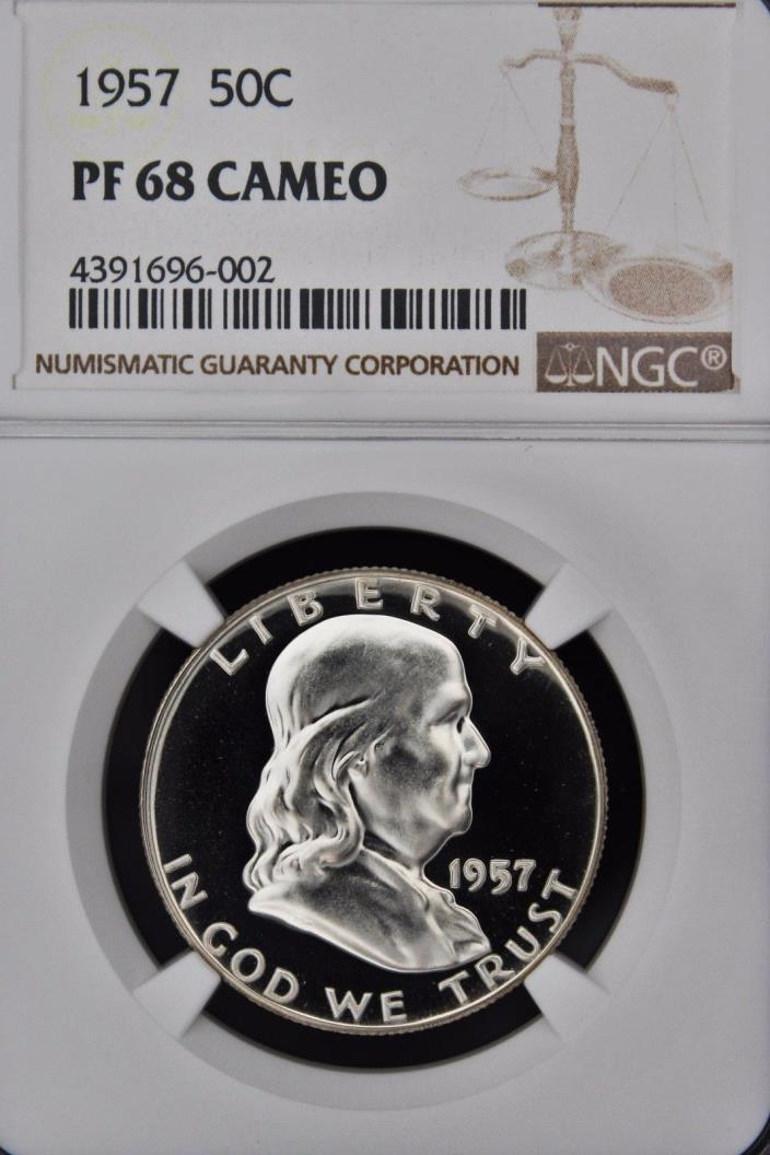 1957 FRANKLIN NGC PF 68 CAMEO. WONDERFUL BLACK & WHITE CONTRAST