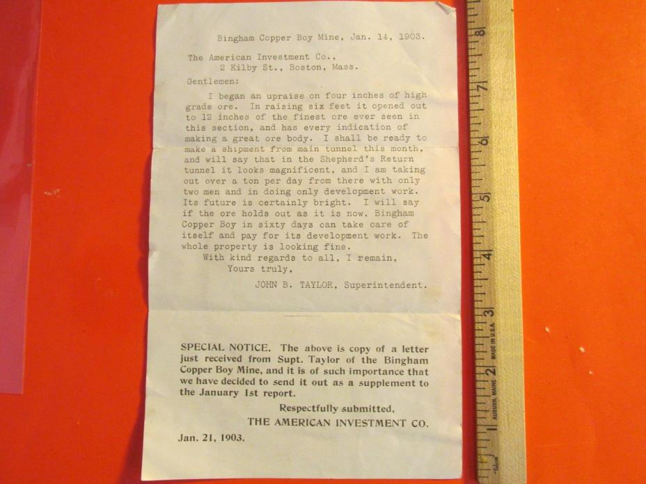 Antique Vintage 1903 Utah Bingham Copper Boy Mine Letter & Investment Flyer