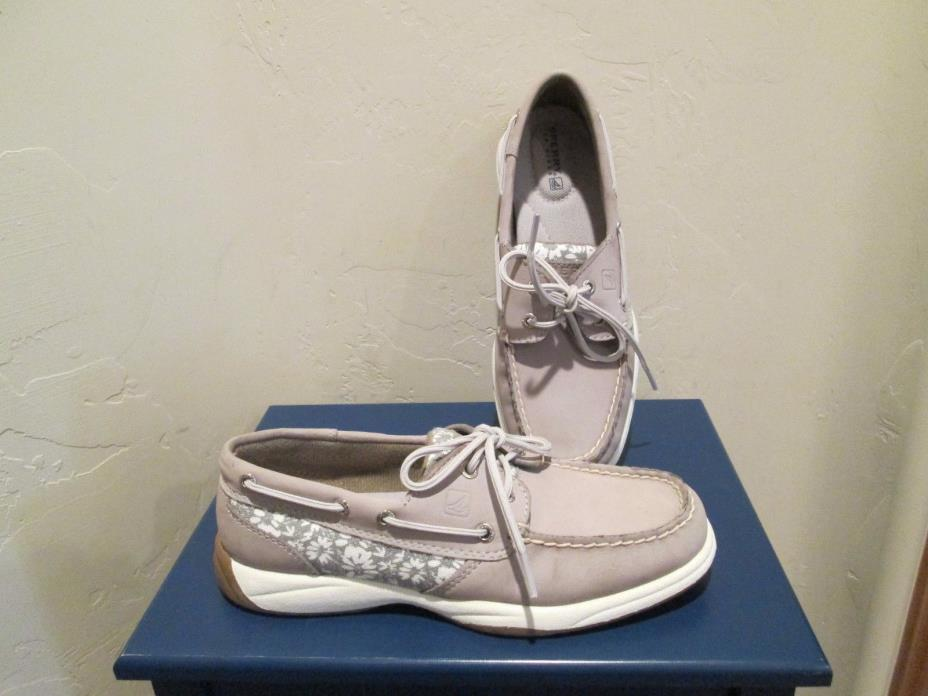 SPERRY TOP-SIDER INTREPID GREY with FLORAL TRIM BOAT SHOES WOMENS SZ 6 M NEW $90