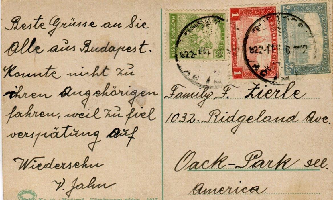 1922 Hungary Budapest cover to Oak Park IL USA