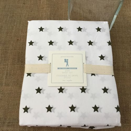 Pottery Barn Kids Organic Black Stars Twin Sheet Set NEW Ba5