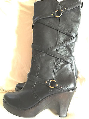 MICHAEL KORS BLACK LEATHER BOOTS TALL PLATFORM WEDGE SHOE SIZE 10.5 US 41 EUR