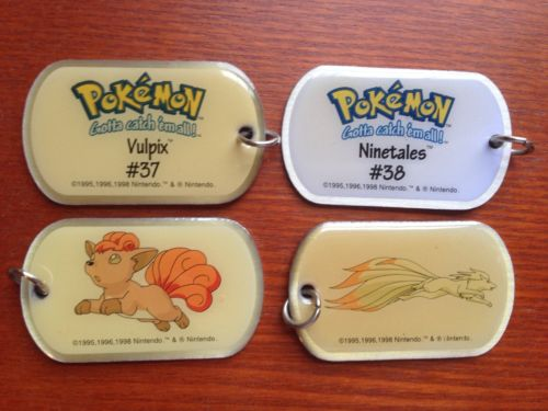 Vulpix (37) and Ninetales (38) Pokémon Dog Tags with chain, 1999