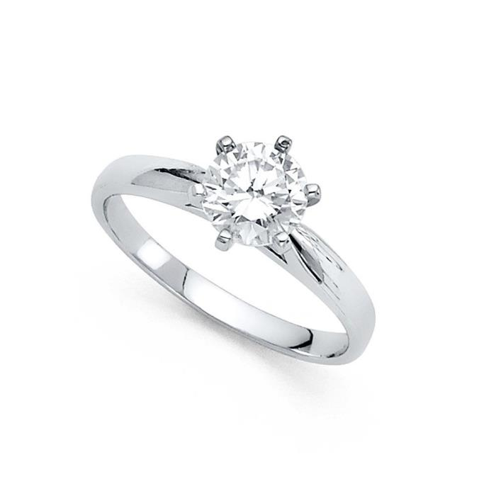 14k Yellow OR White Gold Round CZ Engagement Ring Solitaire CZ Band Bridal Ring