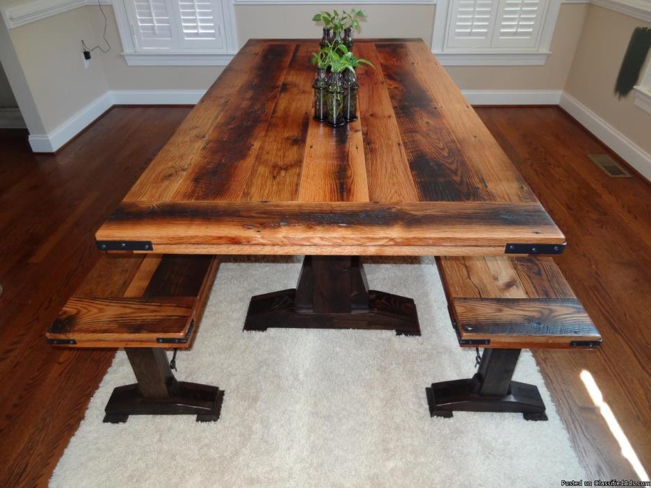 Custom Barn Wood Dining Table and Benches