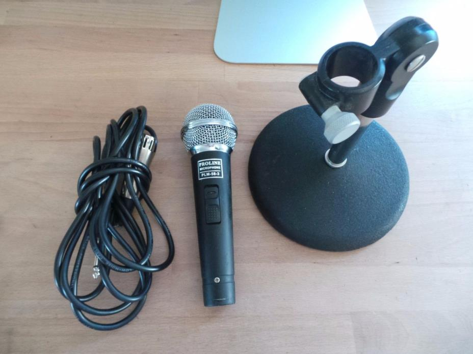 Proline PLM-58-3 DYNAMIC WIRED MICROPHONE W/ DESK BOOM MIC STAND & CABLE