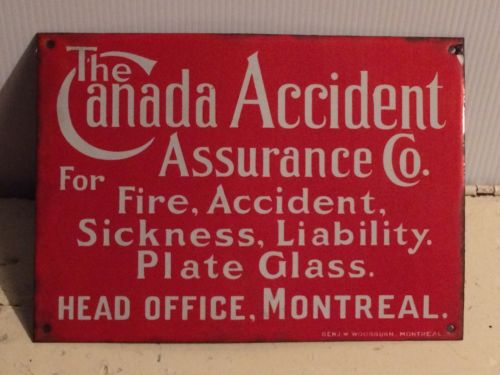 Vintage Canada Accident Assurance / Insurance Porcelain Advertising Sign