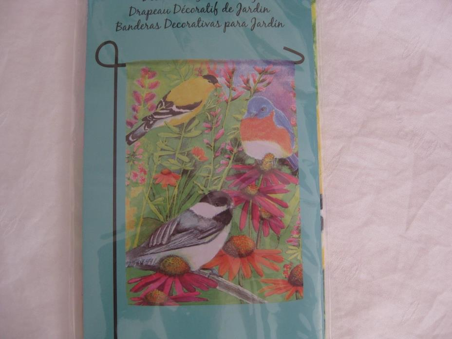 Home & garden, summer garden flag, flowers and birds, 12