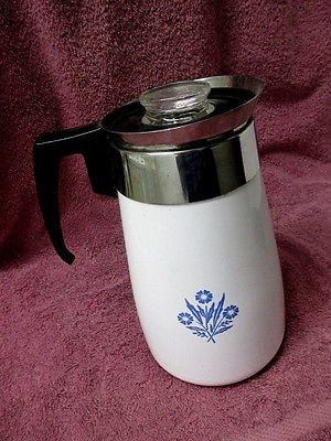 VINTAGE CORNING WARE 9 CUP STOVE TOP BLUE CORNFLOWER COFFEE MAKER