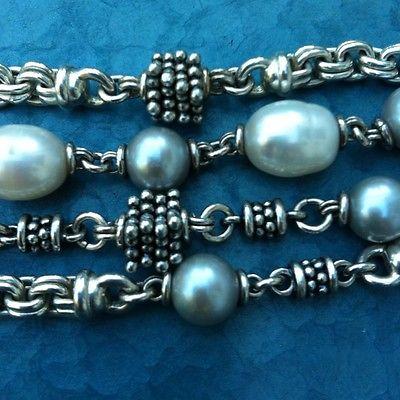 Michael Dawkins Sterling Silver & Fresh Water Pearl Bracelet ~ 7.5