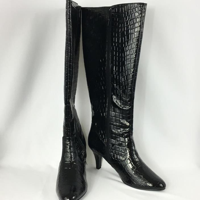 Women's Black Boots Size 8 1/2 Wide Knee High Croc 3 Inch Heel Style 23442