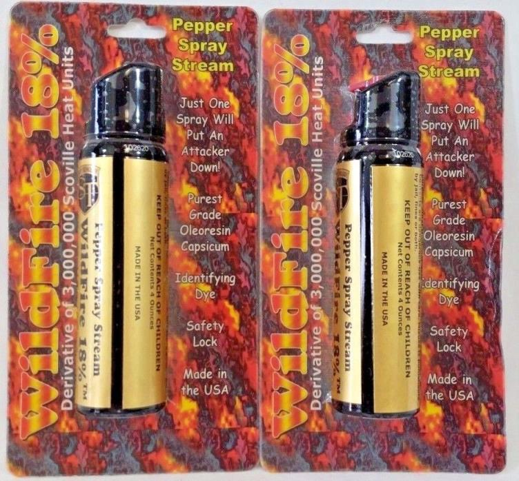 2-Pack of The HOTTEST WildFire 4 oz 18% Pepper Spray Stream for Self Defense NEW