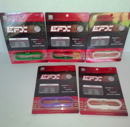 EFX SILICONE OVAL Bracelet Wristband Lot Of 5 Size Large New In Package