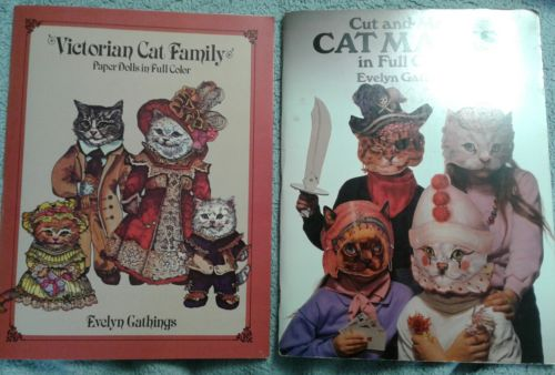lot of 5 vintage 1980's Evelyn Gathings cat paper dolls etc books all uncut