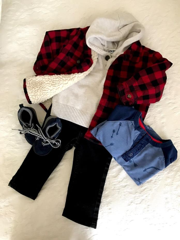 baby boy clothes lot 9-12 months baby gap plaid jacket, oshkosh, sneakers size 3