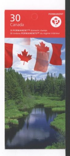 CANADA BOOKLET BK342A 85c x 30 FLAG OVER, UPC ON TOP OF PANEL