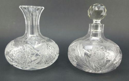Pair of Antique Italian Brilliant Cut Glass Carafef/Decanters