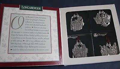 1997 LONGABERGER COMMEMORATIVE CHRISTMAS COLLECTION BASKET ORNAMENTS