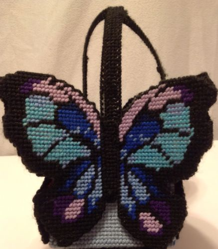 Handmade Plastic Canvas Butterfly Tissue Box Holder Yarn Crafted