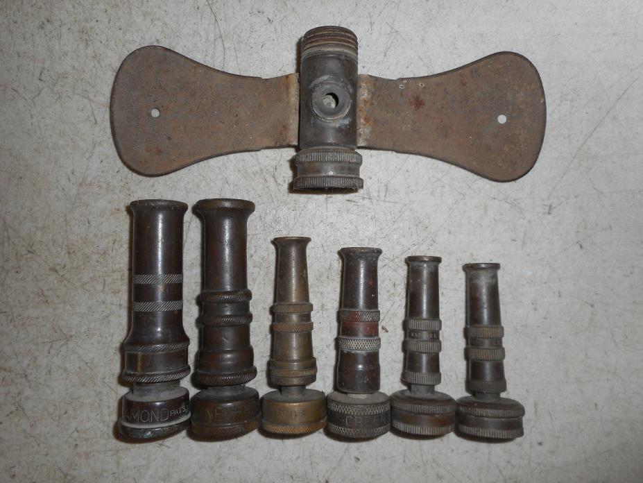 Vintage Brass Garden Hose Nozzles & Sprinkler Collect Potting Bench