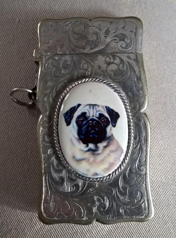 Silver vesta matchsafe match safe dog Pug