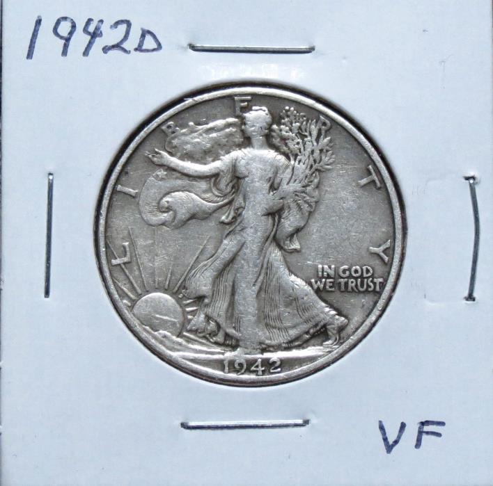 1942D VF Problem Free Walking Liberty Half Dollar 7F12JGA