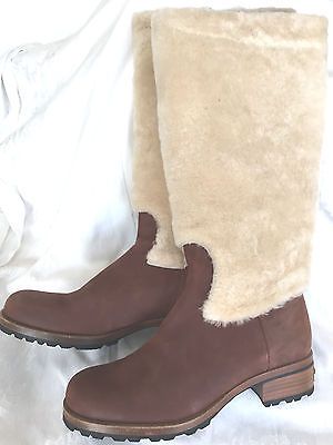 UGG CHESTNUT BROWN LEATHER SHEEPSKIN ZIPPER TALL BOOTS 38 EUR 7 US RUSSIAN STYLE