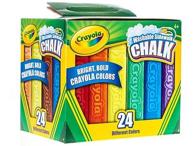 CRAYOLA SIDEWALK CHALK WASHABLE 24 Bright Bold Colors Anti Roll Shape NEW IN BOX