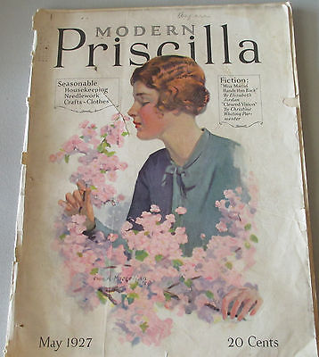Vintage Modern Priscilla May 1927 Needlework Clothes Crafts Housekeeping Fiction
