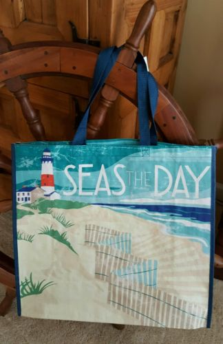 TJ Maxx Beach Lighthouse Oceanfront Chair Reusable Shopping Tote Set of 2 Bags!