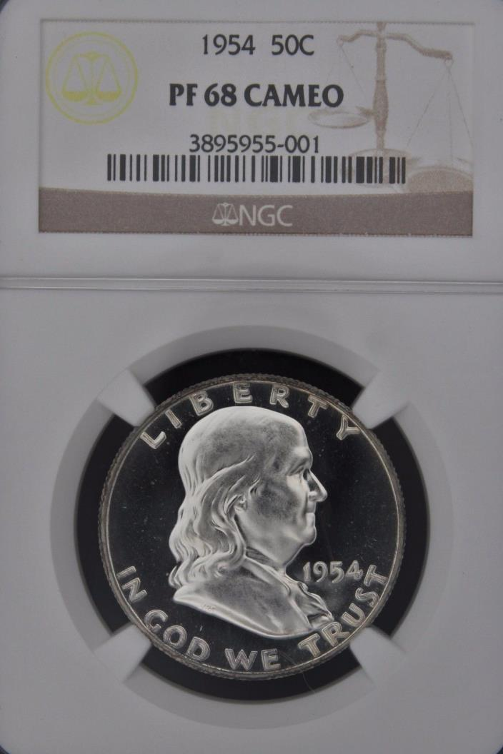 1954 FRANKLIN NGC PF 68 CAMEO.  CAMEO PLUS EXAMPLE WITH HEAVILY FROSTED DEVICES