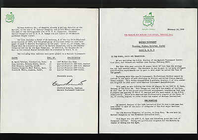 Orig. MASTERS GOLF TOURNAMENT PRESS RELEASE, Feb. 18, 1958 - ARNOLD PALMER Year