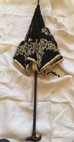Vintage Edwardian Antique Black Silk Ruffles Lace Appliques Parasol TLC