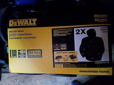 DEWALT Heated Black Hooded Work Jacket Outdoor Coat Jobs DCHJ061C1 XXL 2X