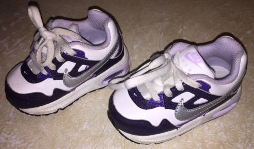 Toddler Unisex Nike Air Tennis Shoes White Purple Size 5
