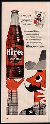 1955 HIRES Soda Pop AD Coyboy w/ Handlebar Mustache