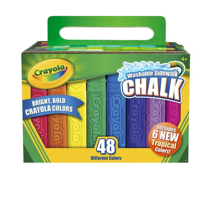 Crayola Washable Sidewalk Chalk, 48 Assorted Bright Colors
