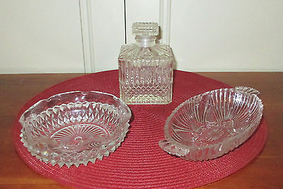 Lot of Vintage Cut Glass; 2 Serving Dishes w/ Sawtooth Edge & 1 Short Decanter