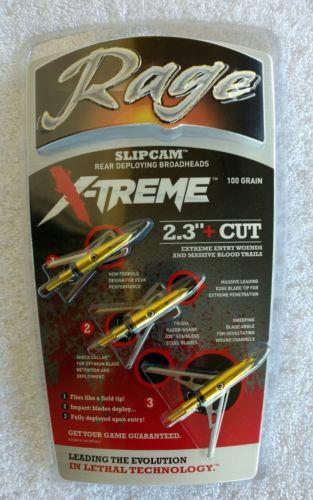 Archery Hunting Rage Slip Cam X-TREME 2-Blade 100 Grain 2.3+ Cut Broadhead NIP